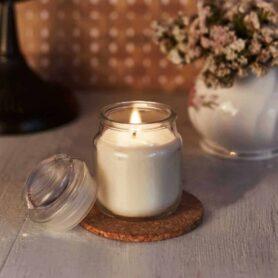 Mocha Natural Wax Glass Top Jar Candle