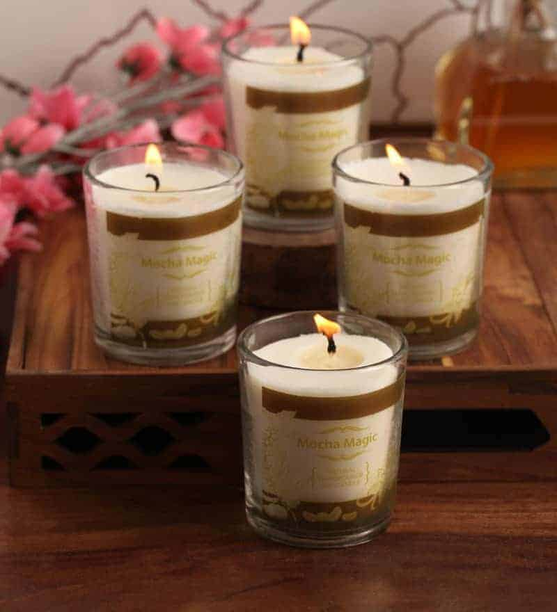 Mocha Natural Wax Voltive Candles Set of 4