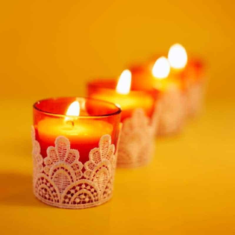 Orange Lace Styled Candles Set of 3