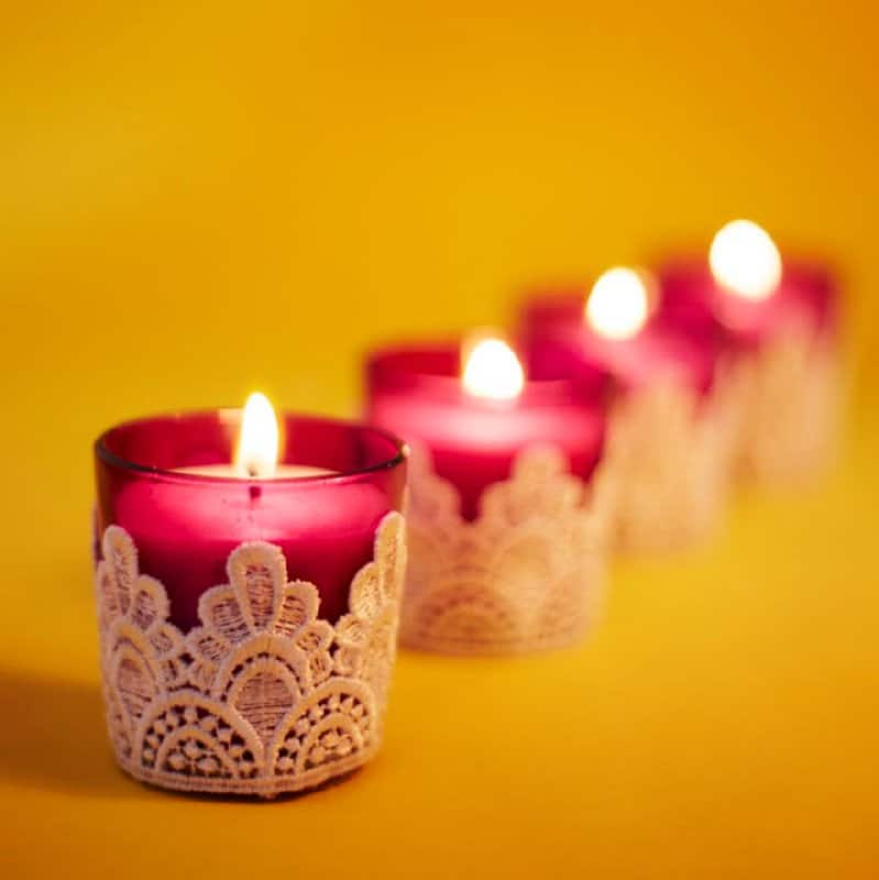 Pink Lace Styled Candles Set of 3