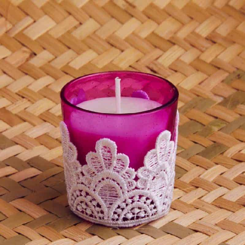 Pink Lace Styled Candles