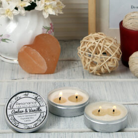 Resonance Candles Amber & Vanilla Fragrance Aromatic Travel Tin Candles – Set of Two