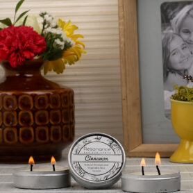 Resonance Candles Cinnamon Fragrance Aromatic Travel Tin Candles – Set of Two