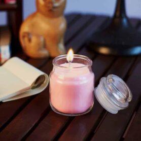 Rose Natural Wax Glass Top Jar Candle