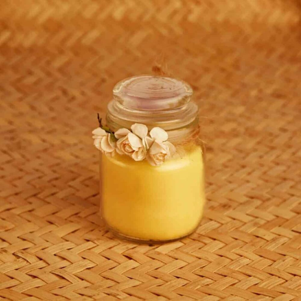 Sandalwood Tiara Styled Natural Wax Glass Top Candle