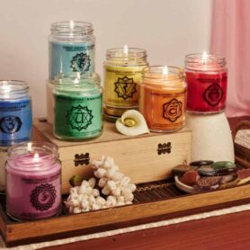 Seven Chakra Meditation Set Natural Wax Medium Jar Candle